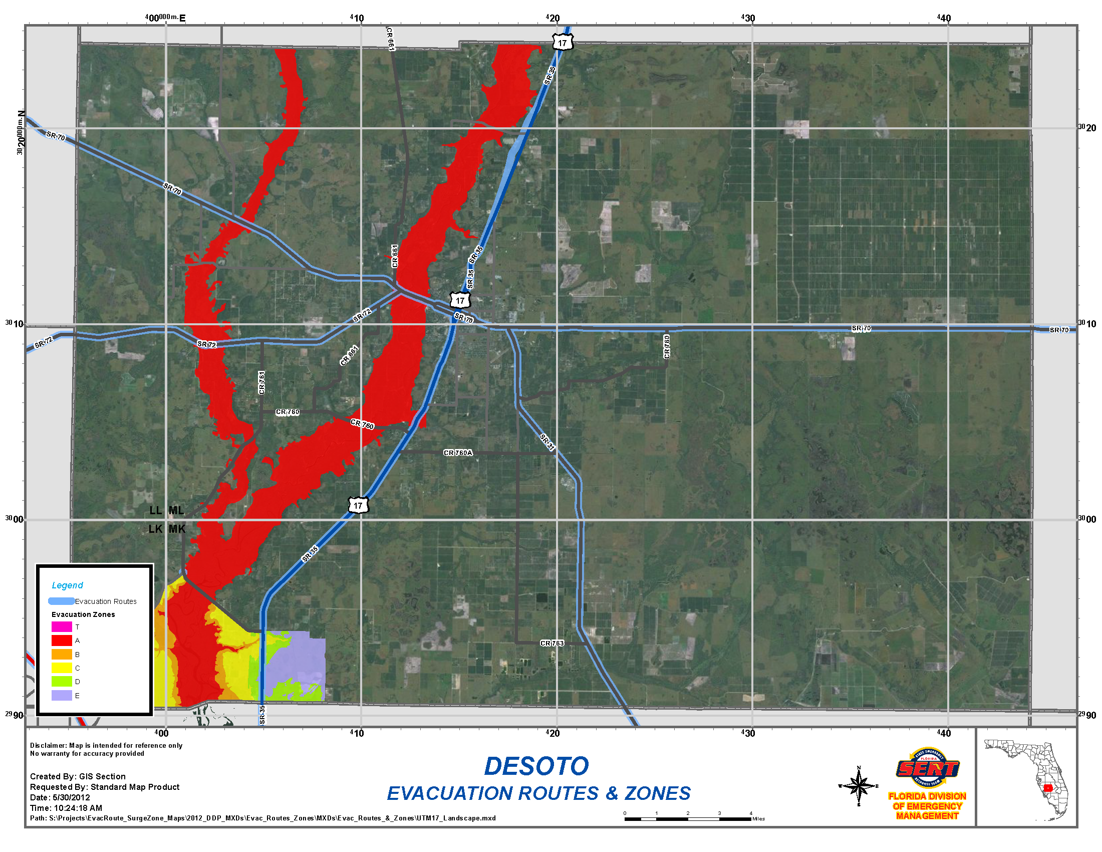 DeSoto County Evacuation Routes and Flood Zones