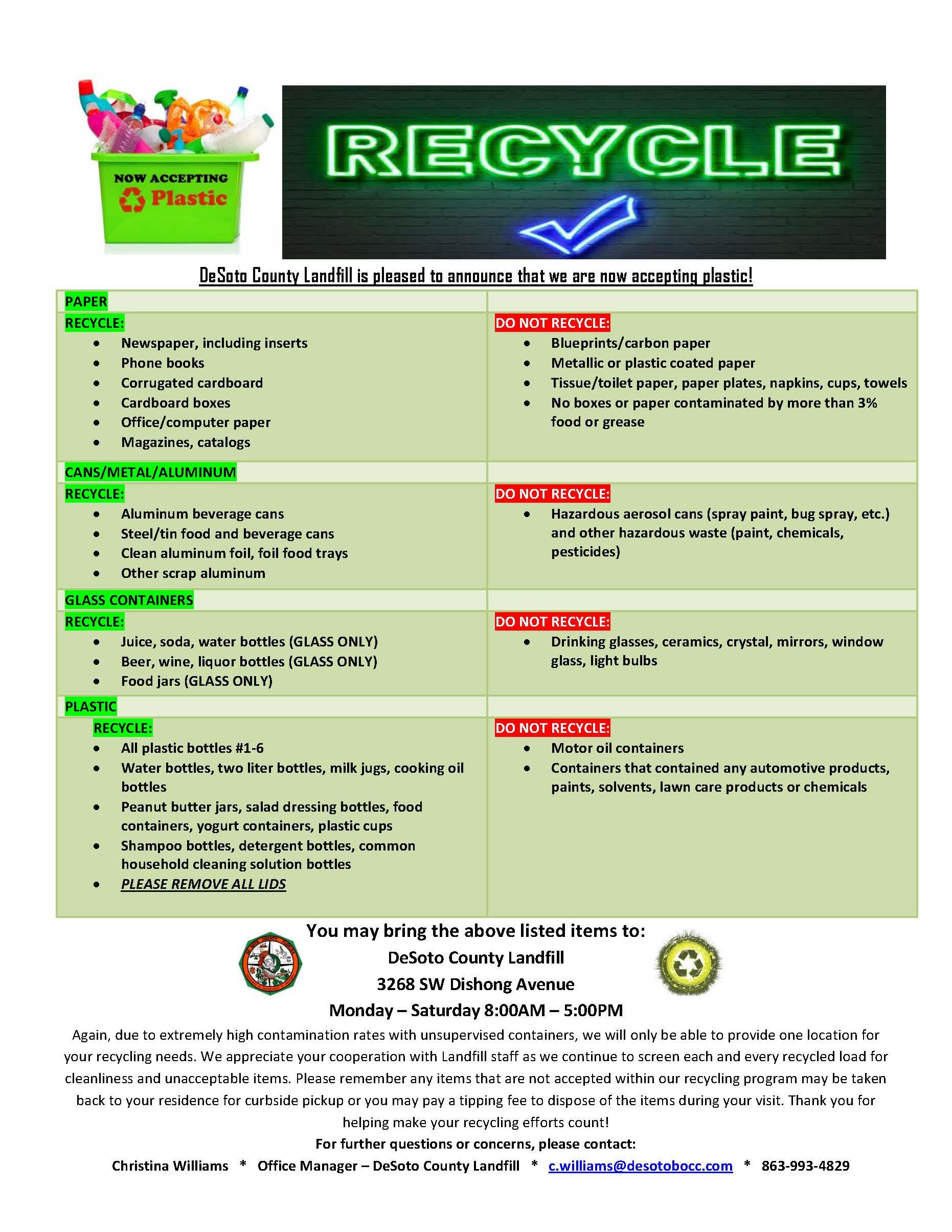 Department   Landfill   DeSoto County Recycling Program