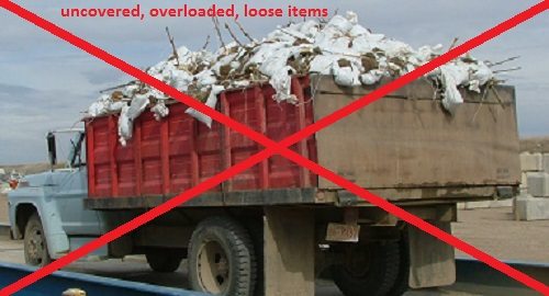 uncovered, overloaded, loose items