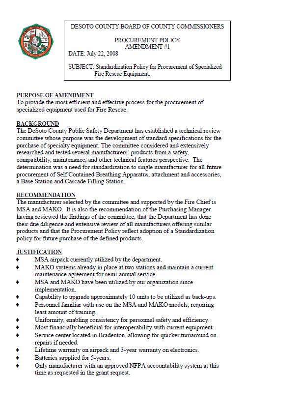 DeSoto County Procurement Policy