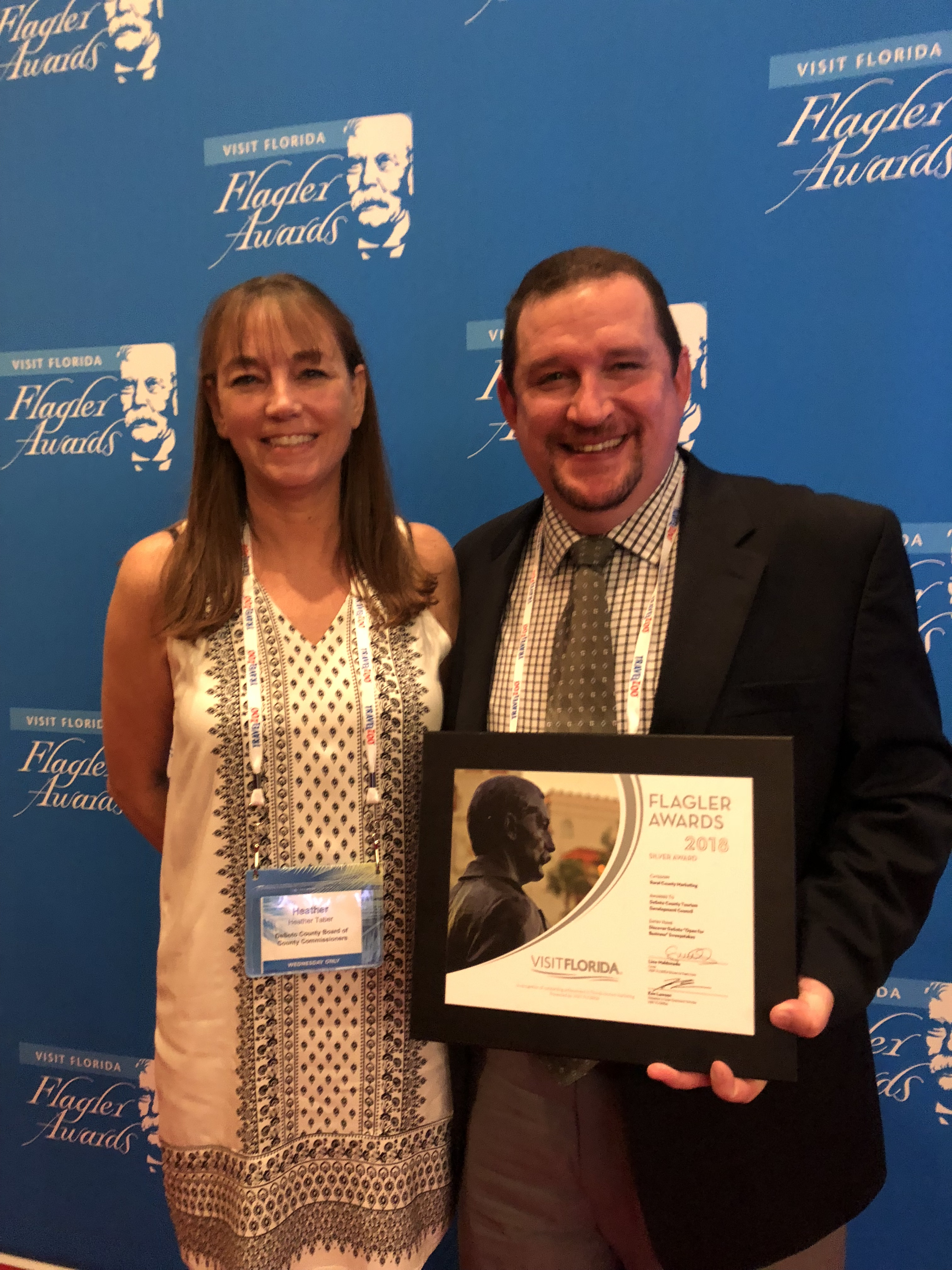 Mike Taber with 2018 Flagler Award