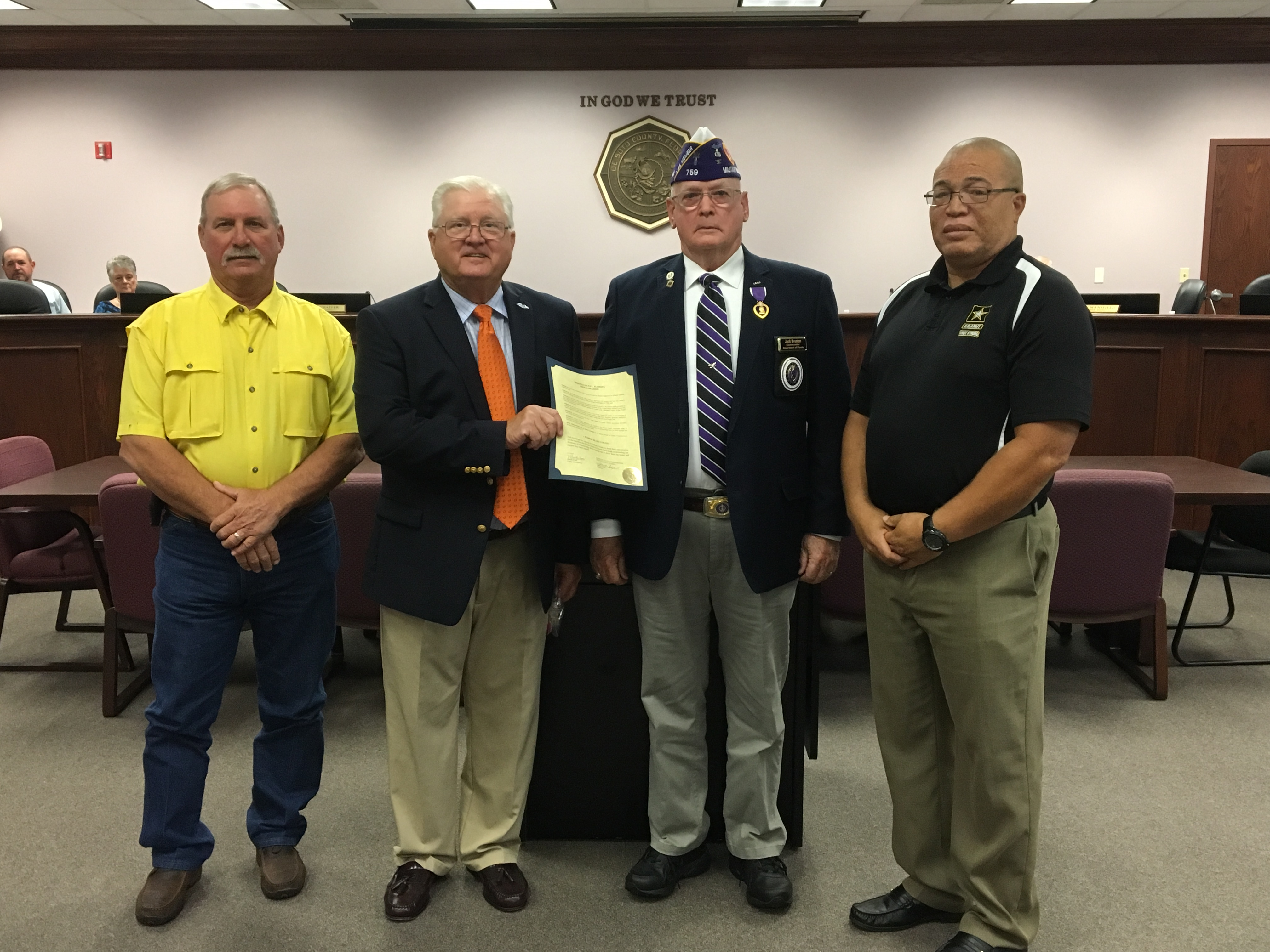 Commissioners Selph and Mansfield along with Veterans Service Officer Steve Rickard and Jack Brunton, Jr.