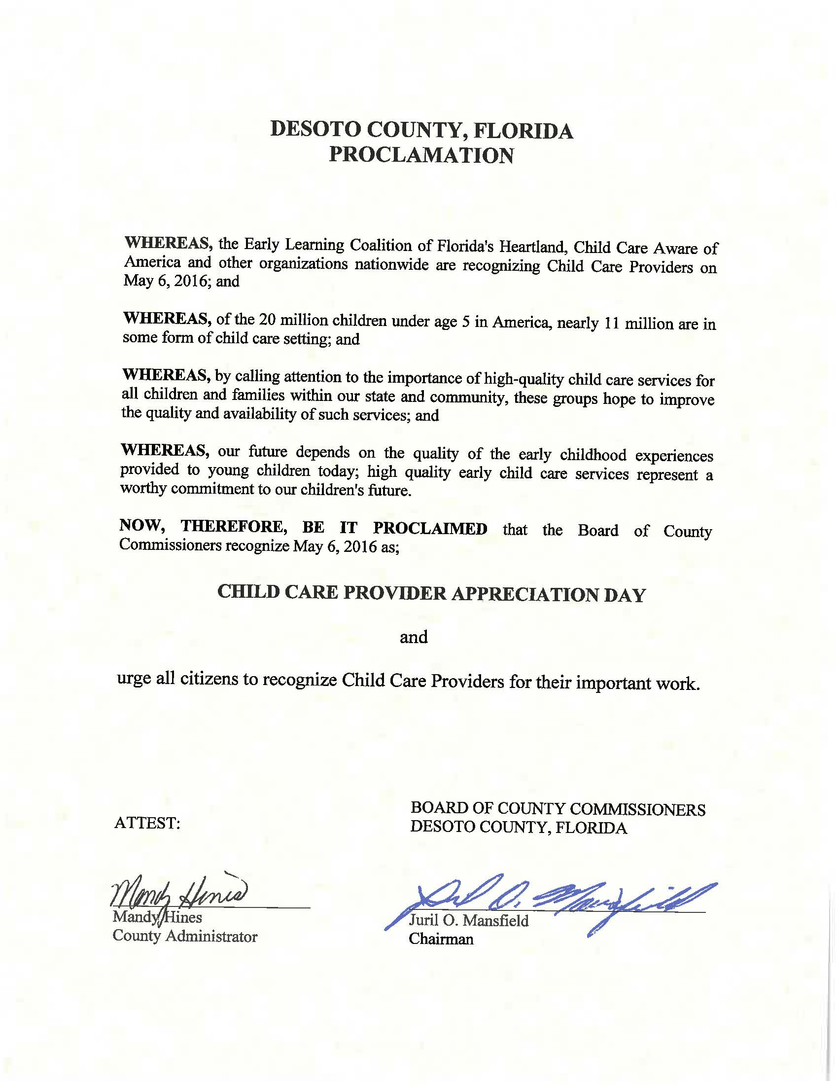 Child Care Provider Appreciation Day Proclamation